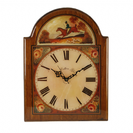 Traditional High Polished Wooden Wall Clock~ At The Gallop Riding